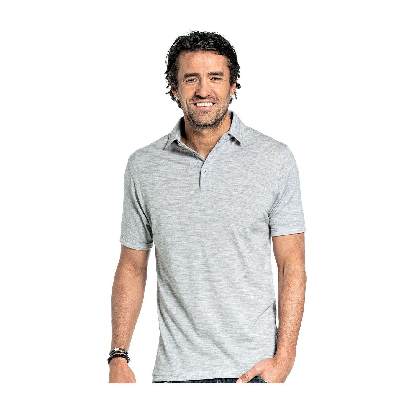 Shirt Polo Short Sleeve voor mannen gemaakt van merinowol in het Lichtgrijs