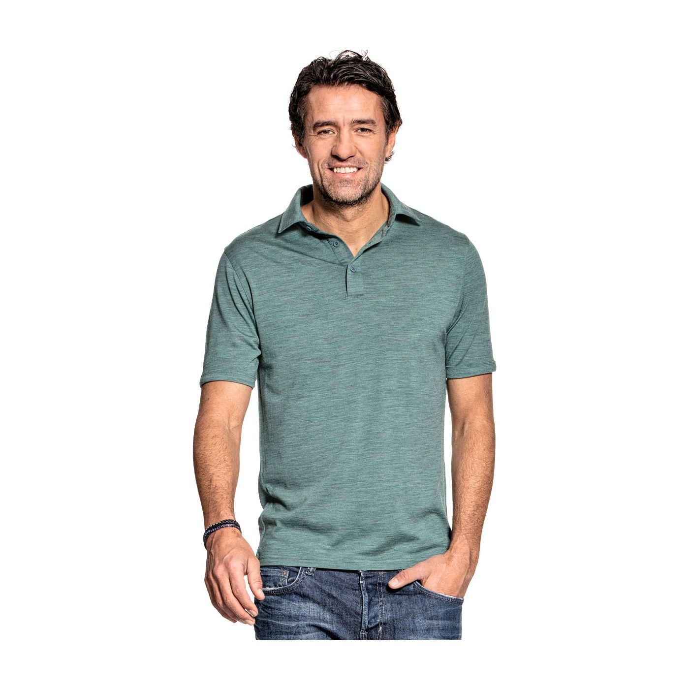 Shirt Polo Short Sleeve voor mannen gemaakt van merinowol in het Lichtgroen