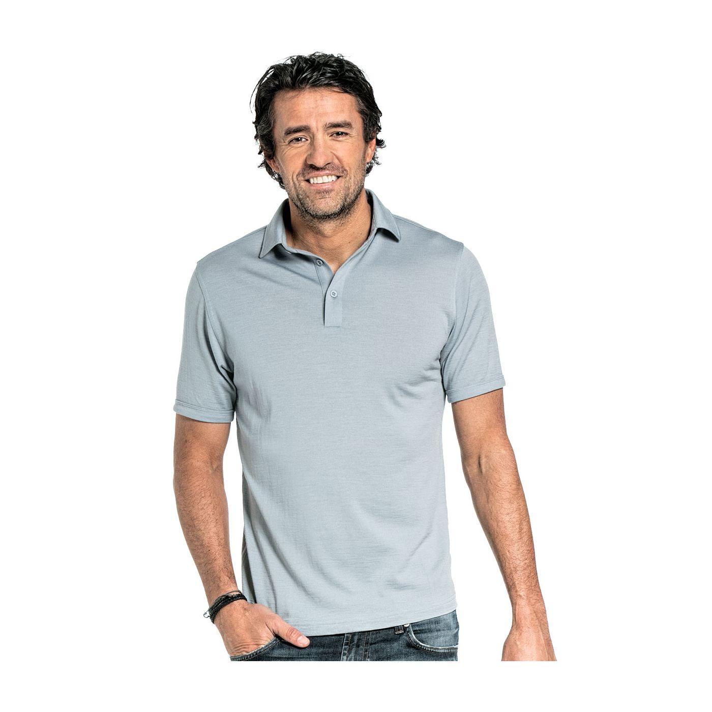 Poloshirt für Herren aus Merinowolle in Graublau