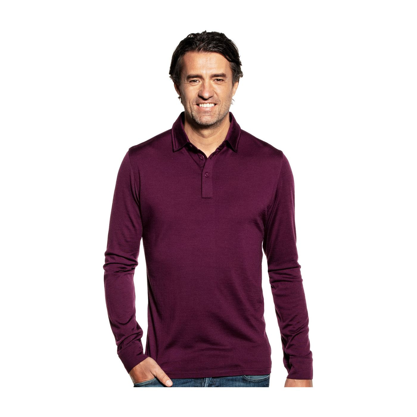 Shirt Polo Long Sleeve Red Cabbage