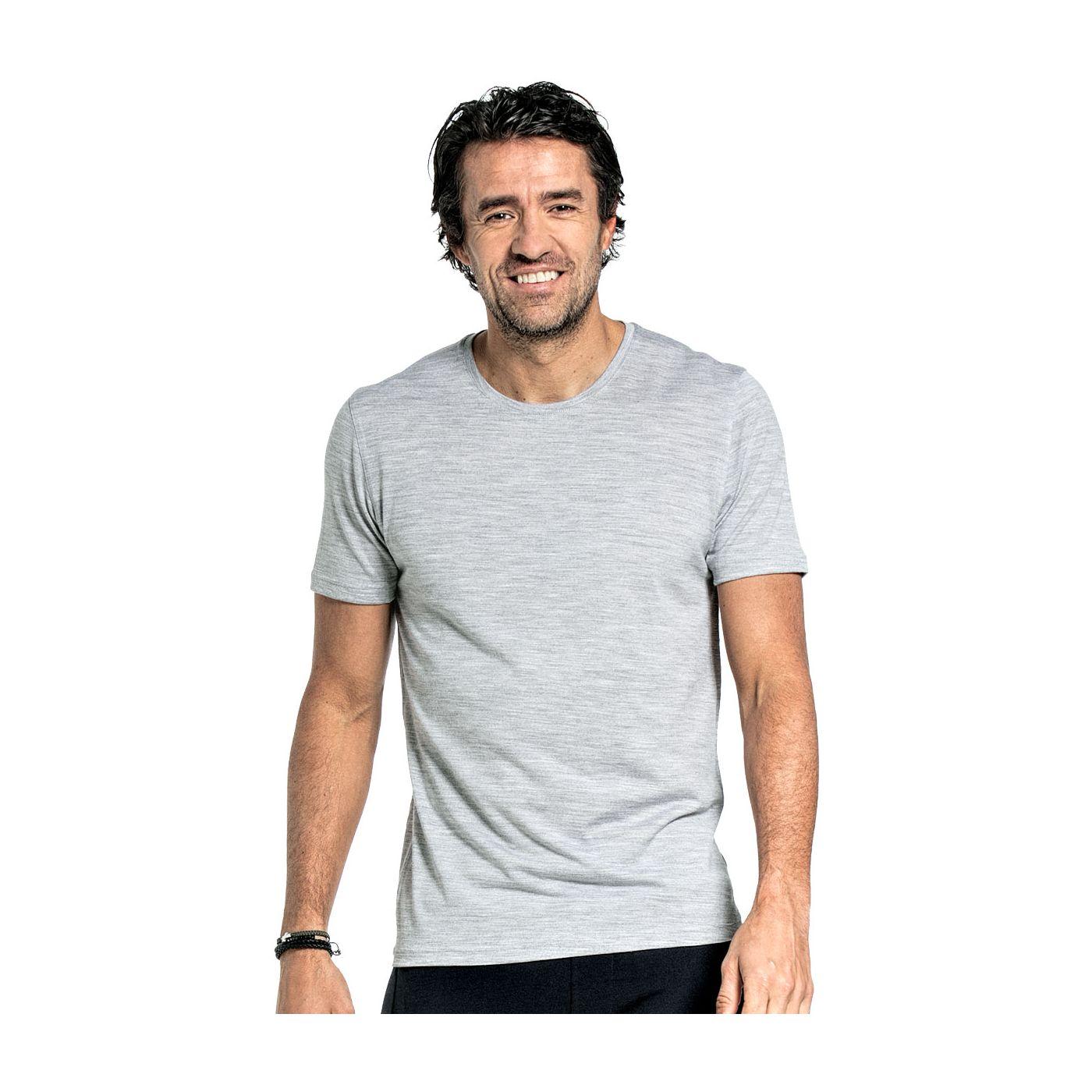 T-shirt voor mannen gemaakt van merinowol in het Lichtgrijs