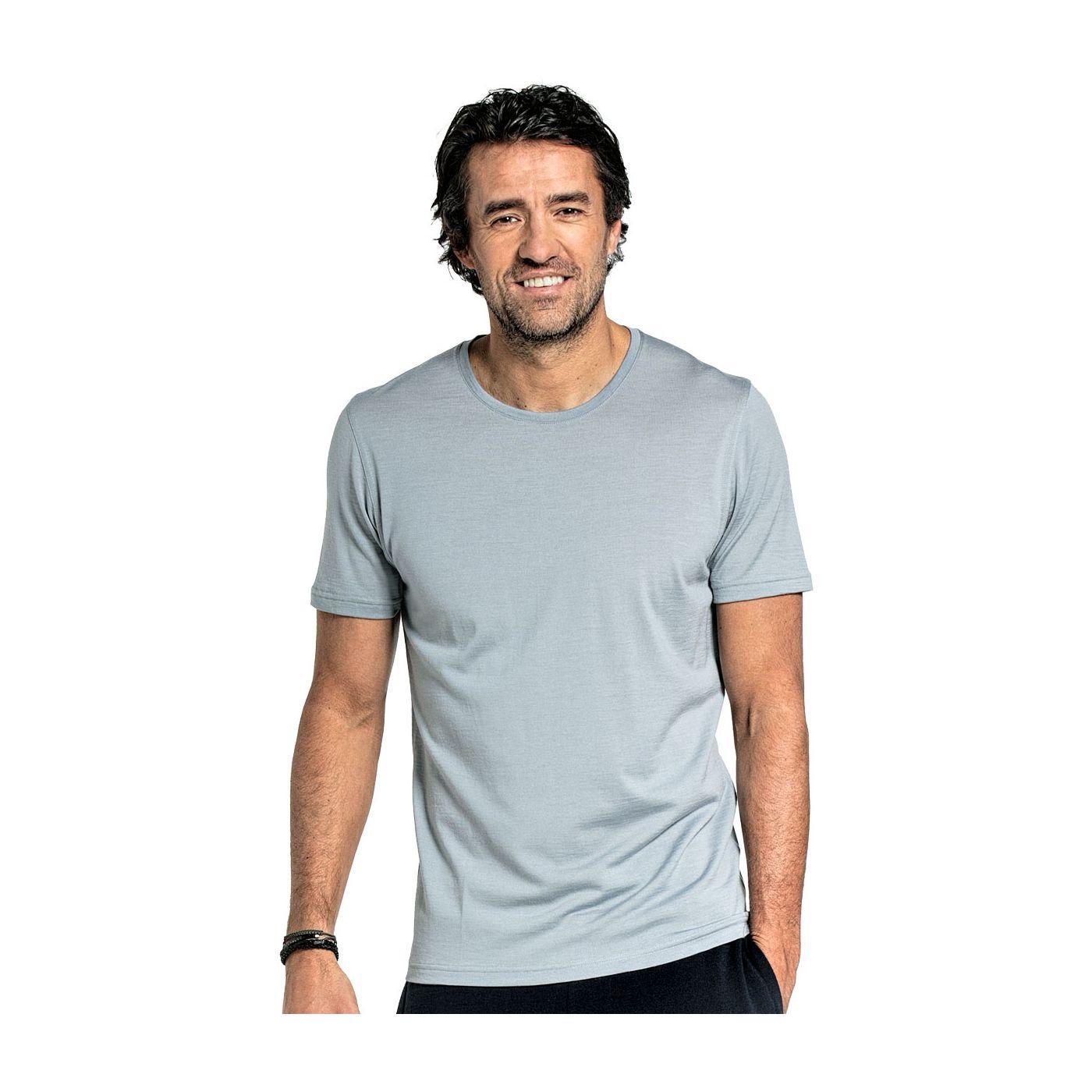 Shirt Round Neck voor mannen gemaakt van merinowol in het Grijsblauw