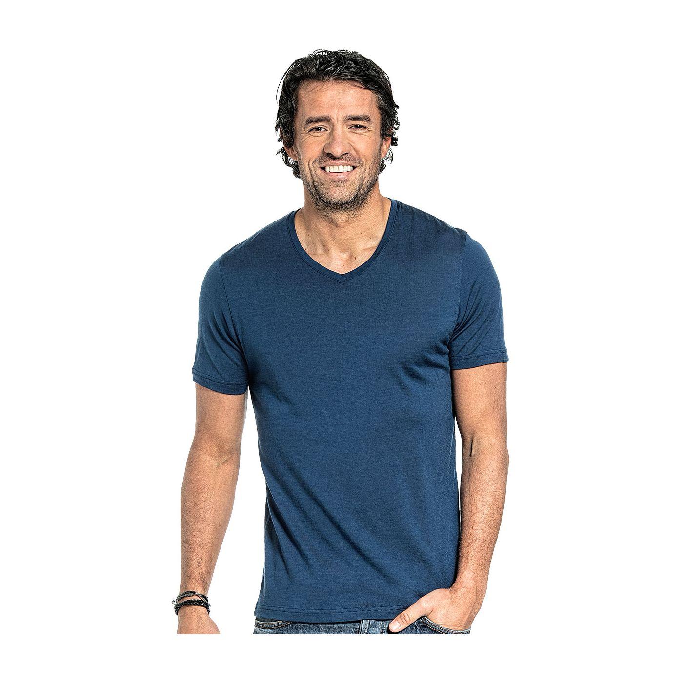 T-shirt met V hals voor mannen gemaakt van merinowol in het Helderblauw
