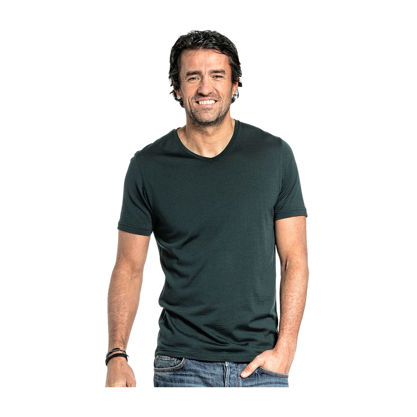 Shirt V-neck voor mannen gemaakt van merinowol in het Donkergroen