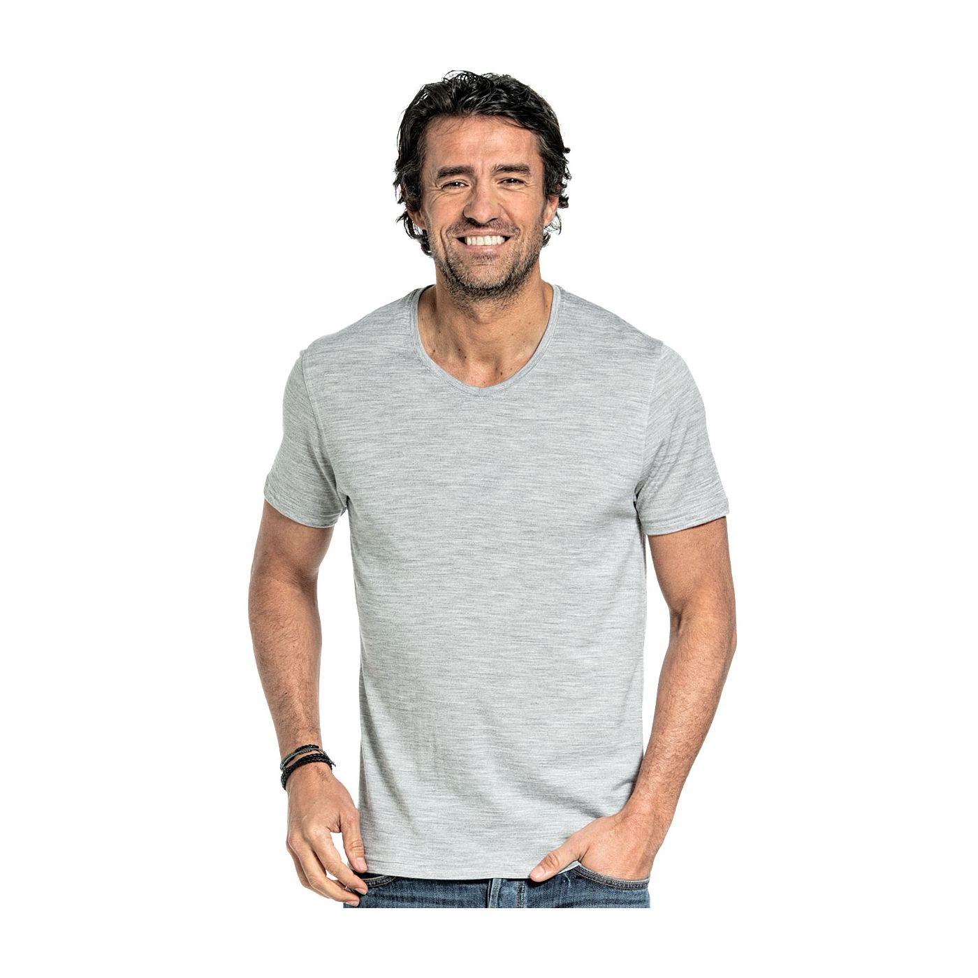 T-shirt met V hals voor mannen gemaakt van merinowol in het Lichtgrijs