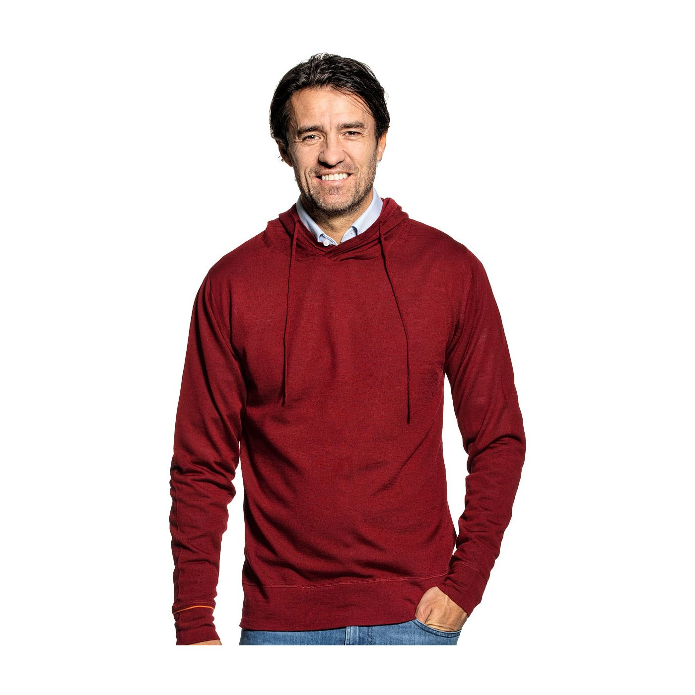 Sweater with hoodie for men made of Merino wool in Red