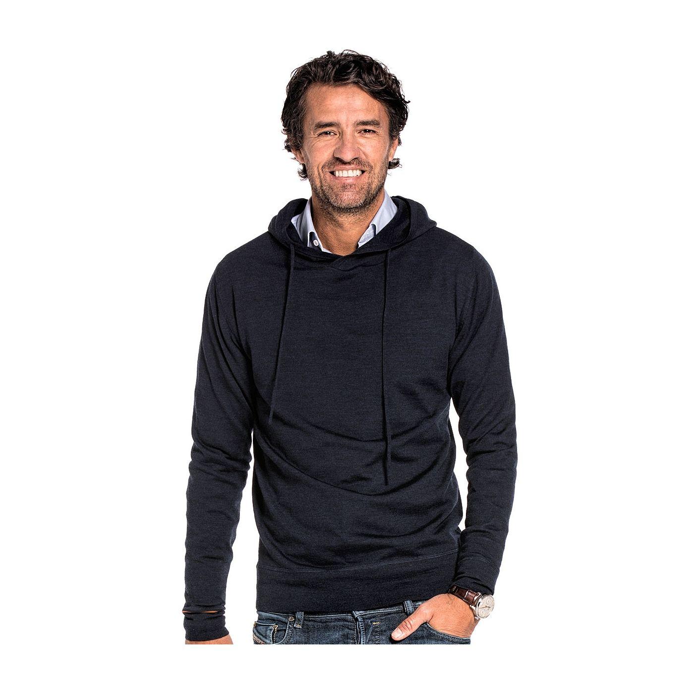 Sweater with hoodie for men made of Merino wool in Dark blue