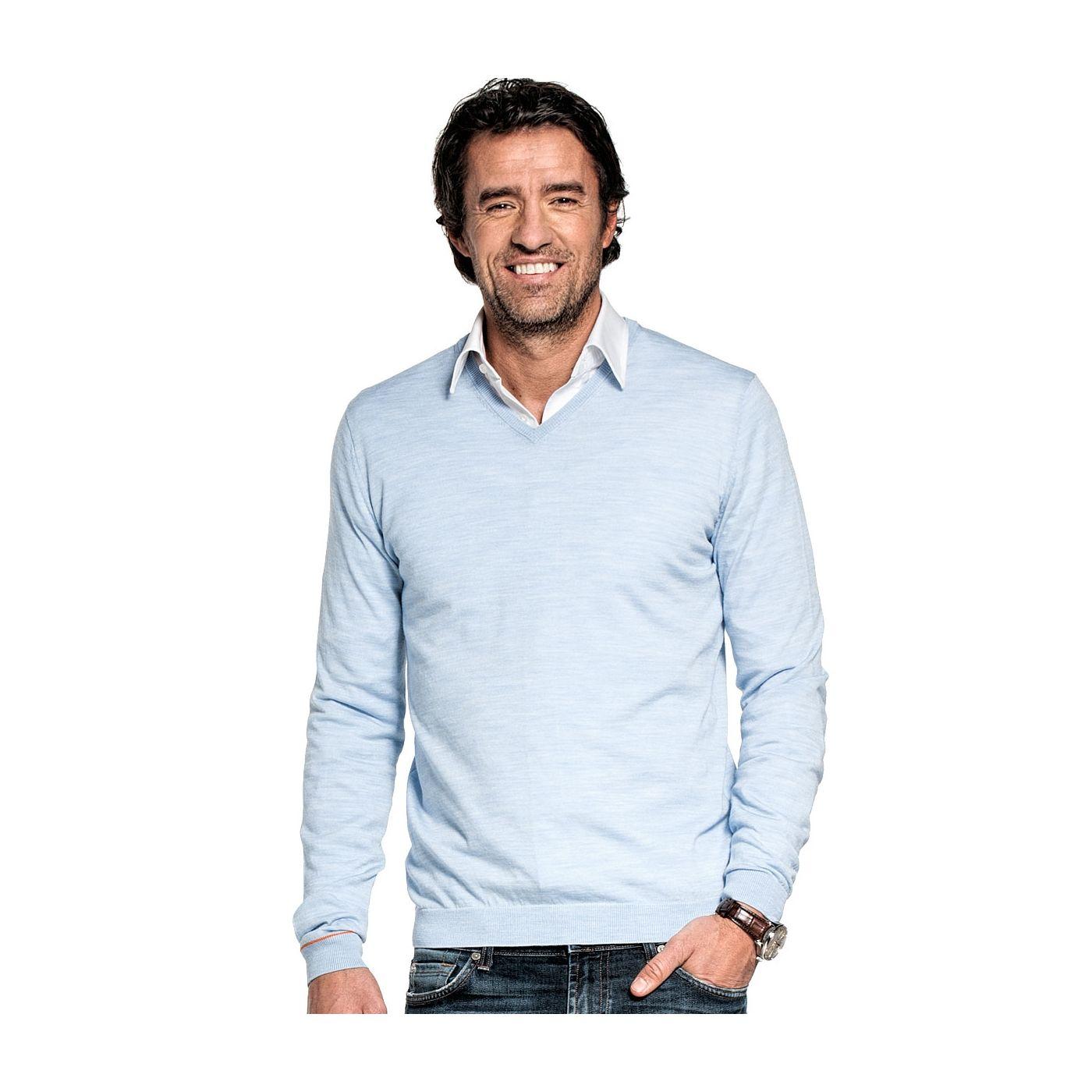 V hals trui voor mannen gemaakt van merinowol in het Lichtblauw