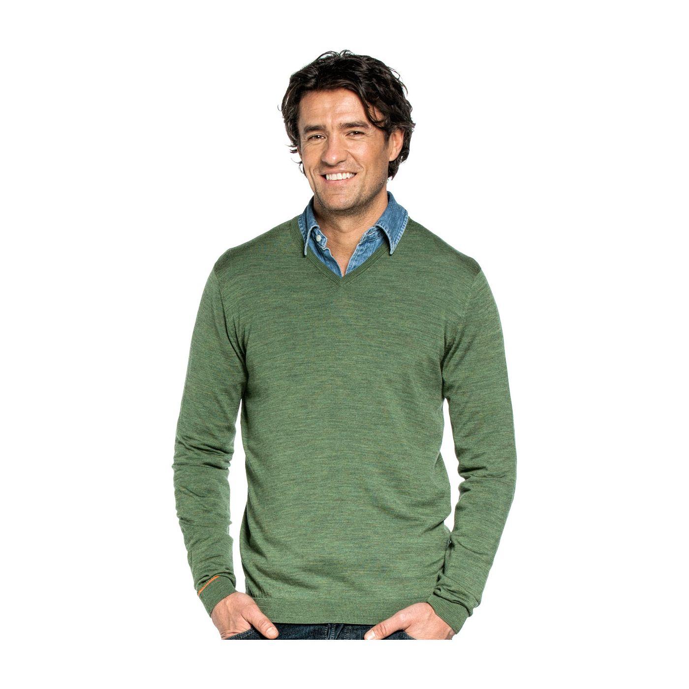 V-Neck voor mannen gemaakt van merinowol in het Groen