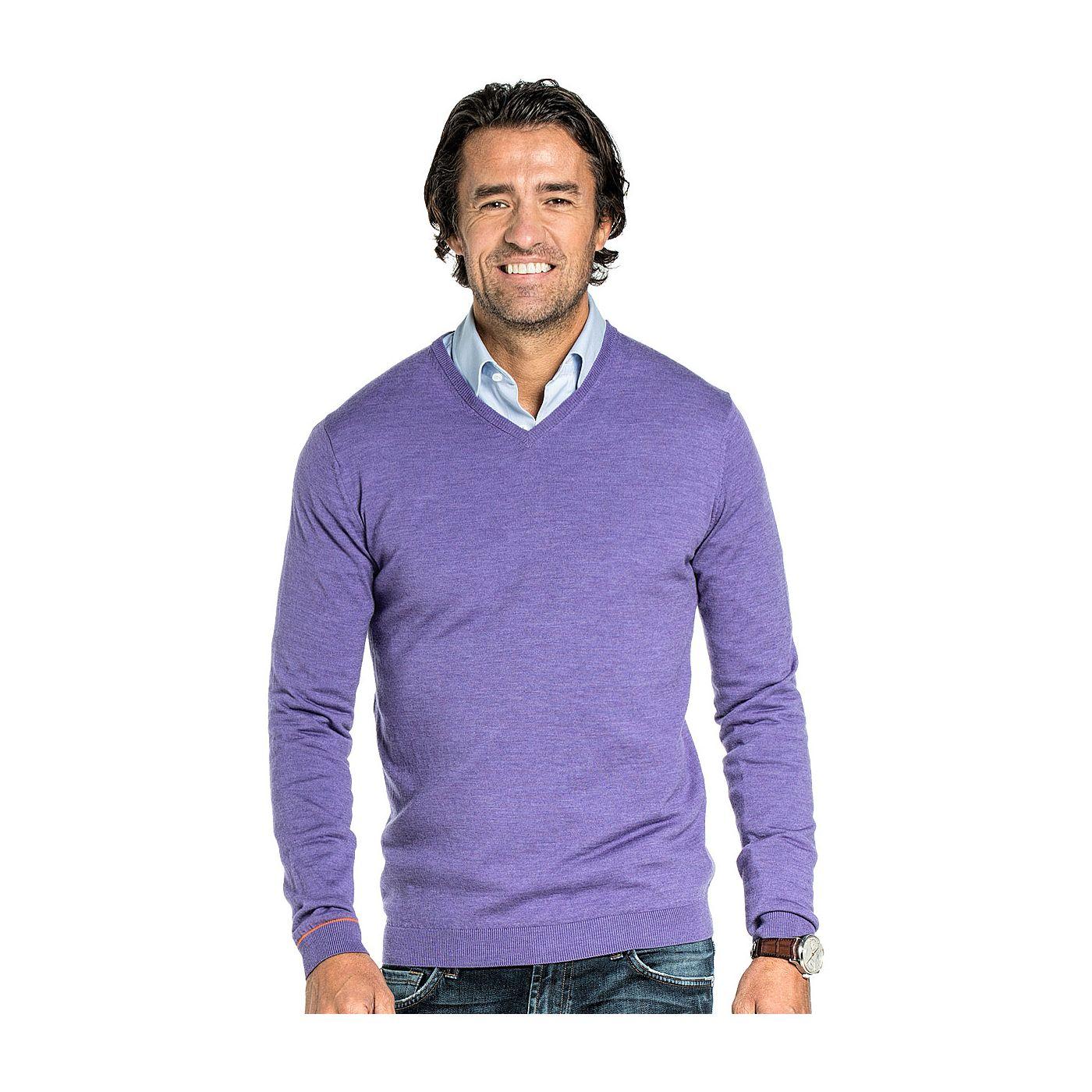 V hals trui voor mannen gemaakt van merinowol in het Lila