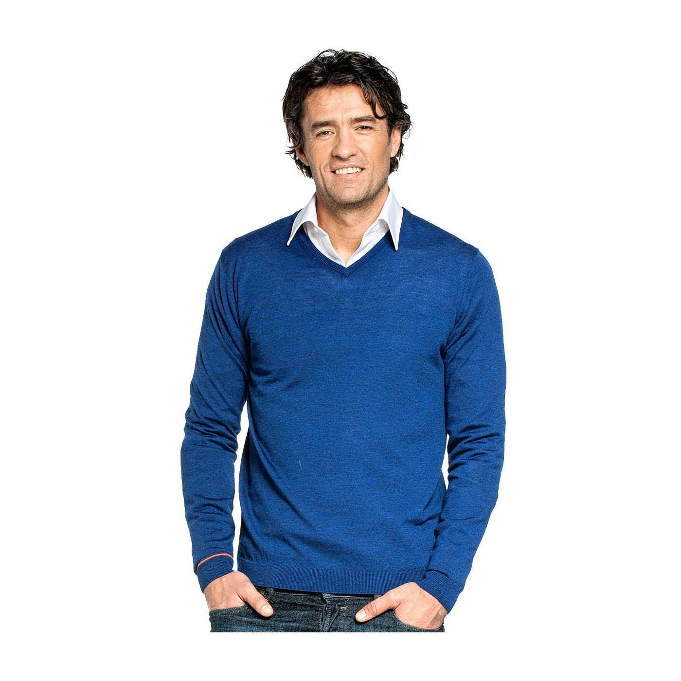 V hals trui voor mannen gemaakt van merinowol in het Blauw