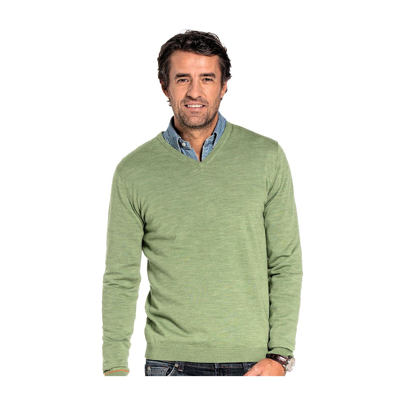 V-Neck sweater for men made of Merino wool in Green