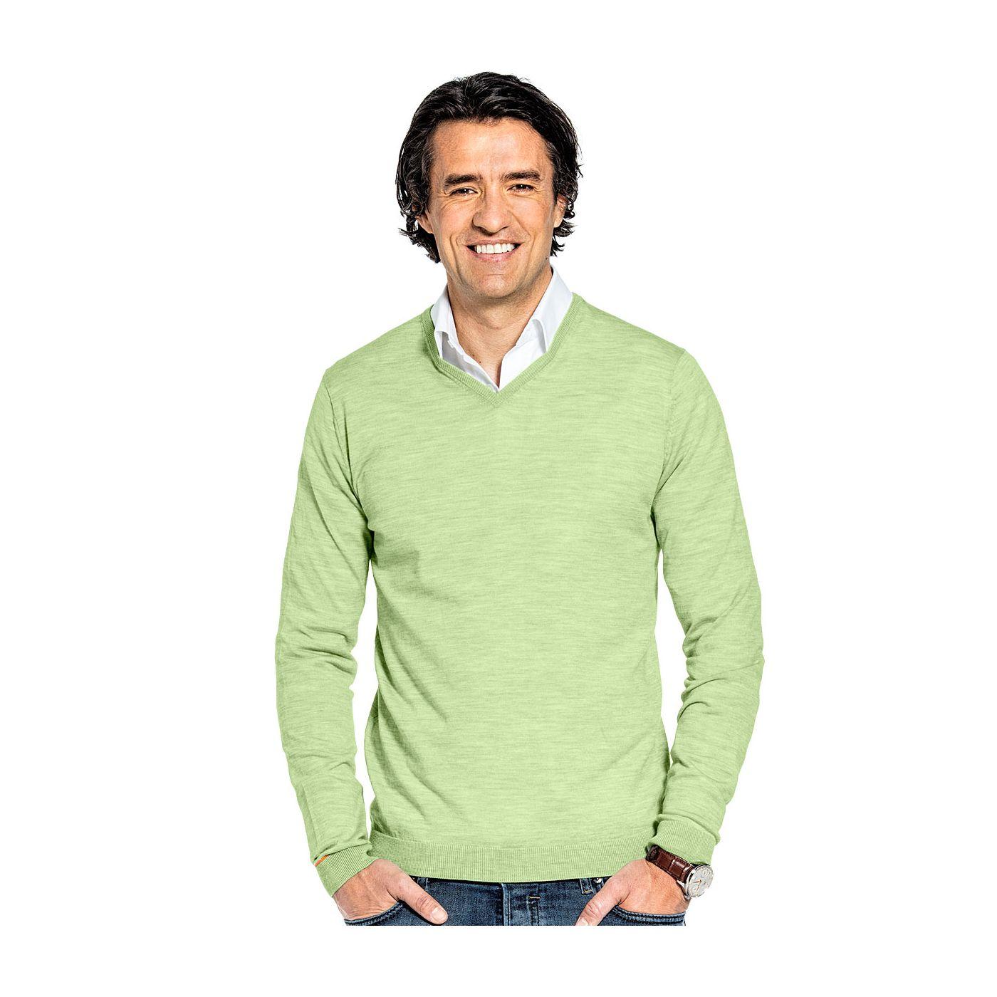 Pullover mit V-Ausschnitt für Herren aus Merinowolle in Hellgrün