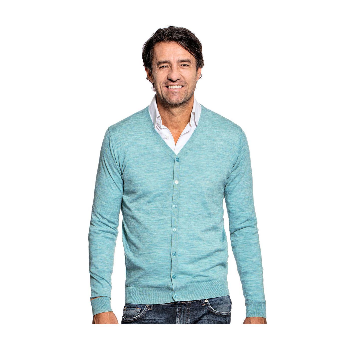 Vest met knopen voor mannen gemaakt van merinowol in het Lichtblauw