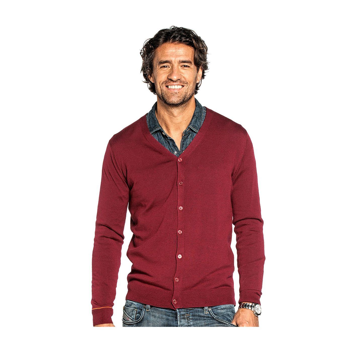 Cardigan for men made of Merino wool in Red