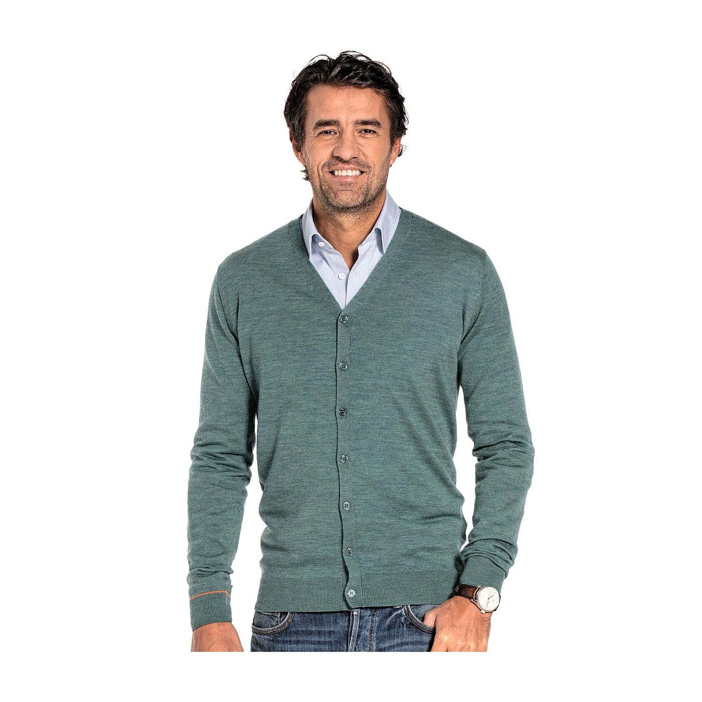 Cardigan for men made of Merino wool in Light green