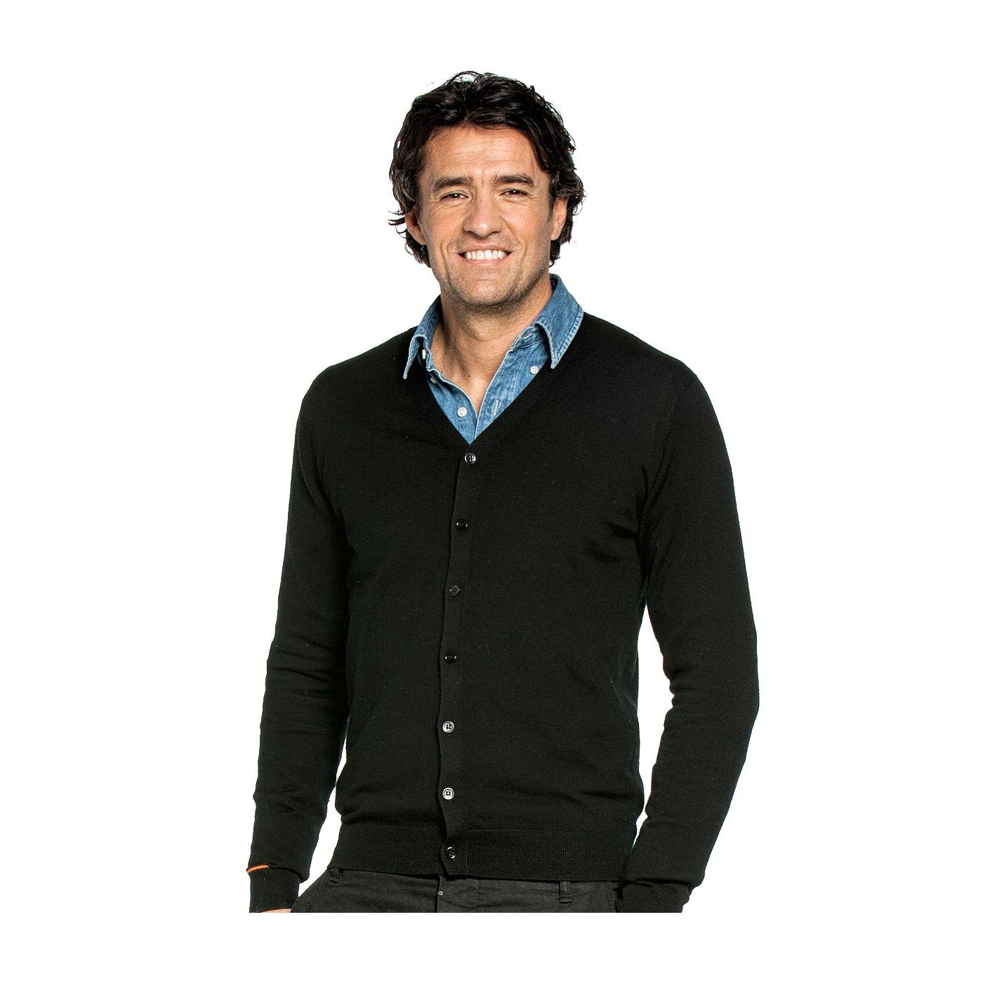 Vest voor mannen gemaakt van merinowol in het Zwart