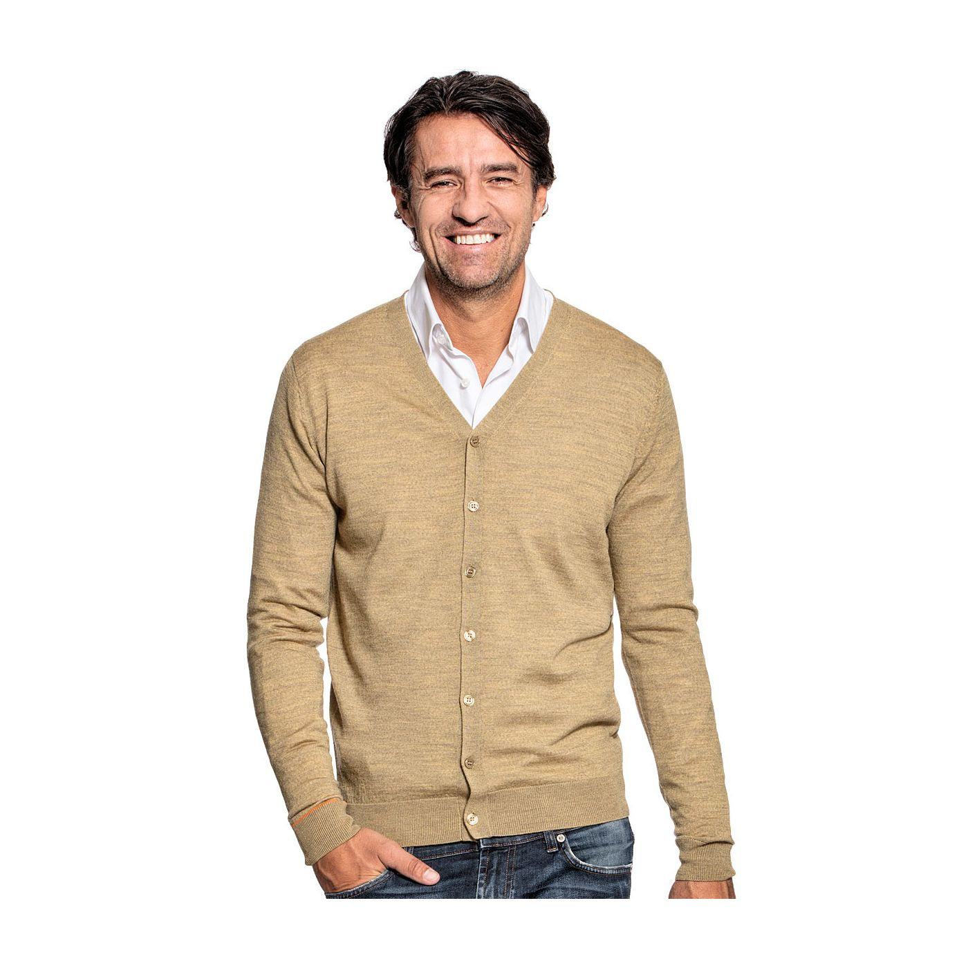 Cardigan for men made of Merino wool in Yellow