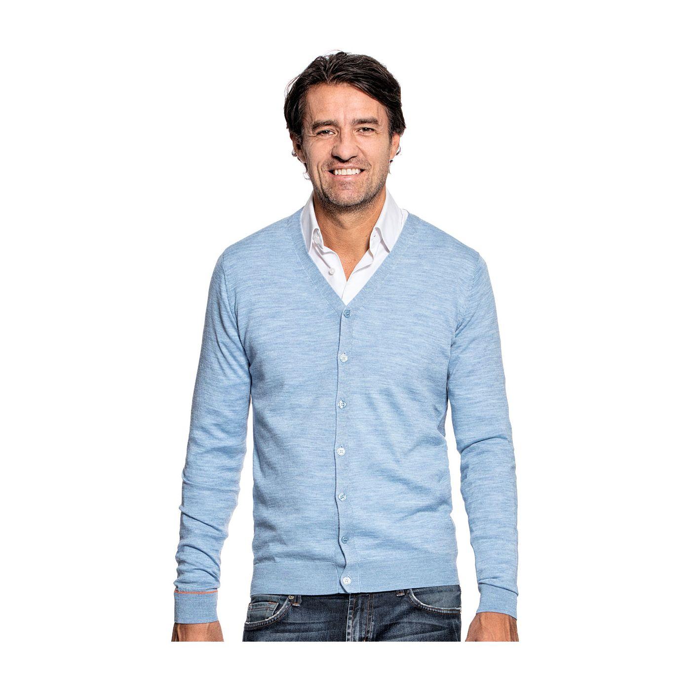 Vest voor mannen gemaakt van merinowol in het Lichtblauw