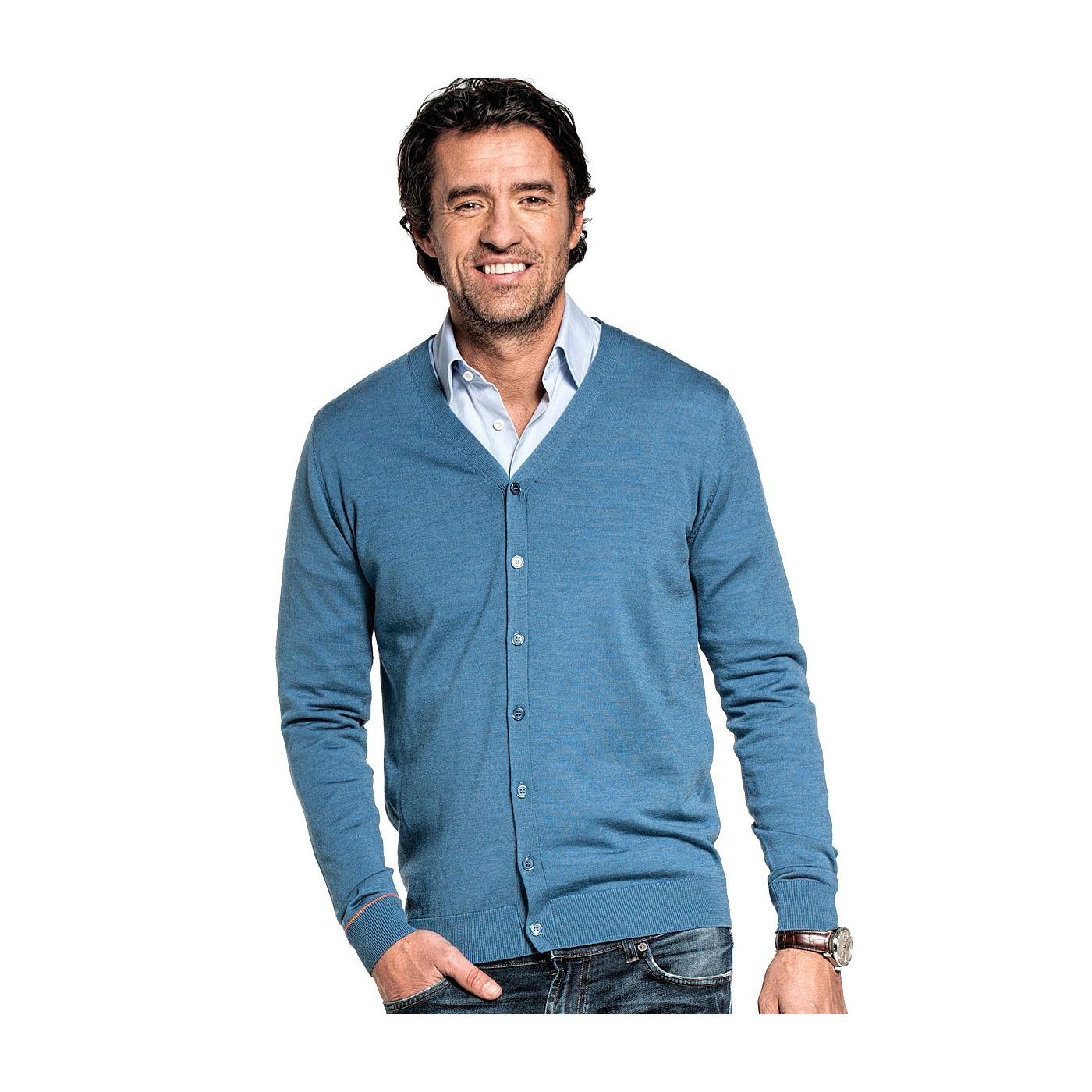 Vest voor mannen gemaakt van merinowol in het Blauw