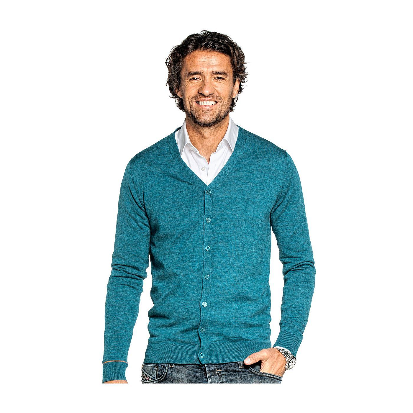 Vest voor mannen gemaakt van merinowol in het Blauwgroen