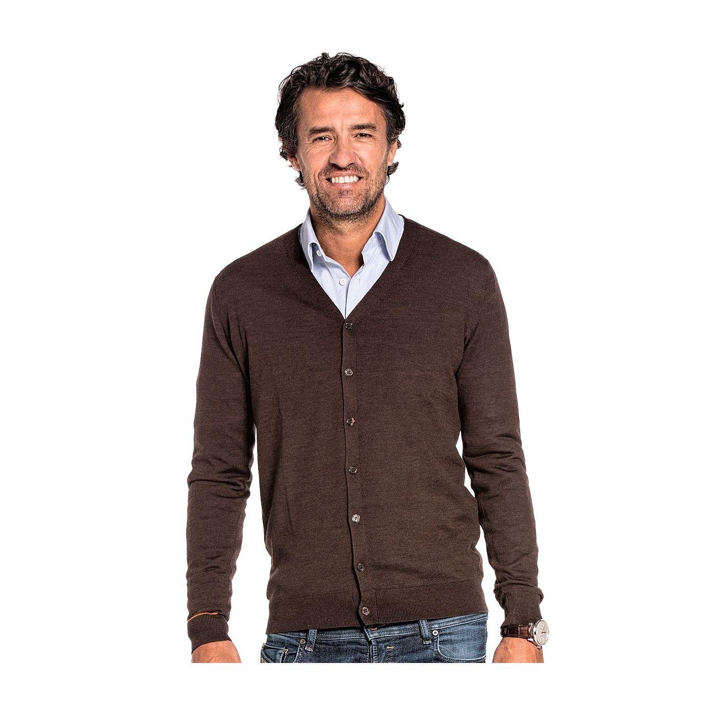 Cardigan for men made of Merino wool in Brown