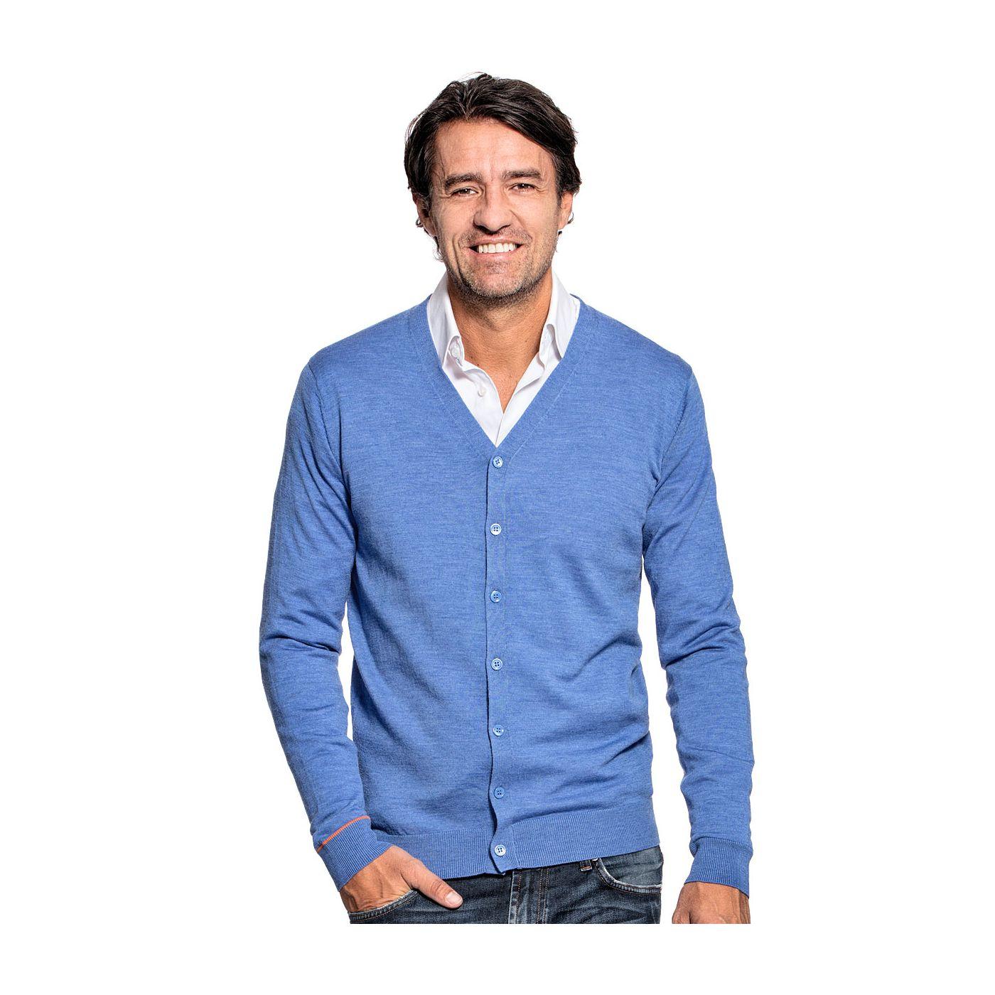 Vest voor mannen gemaakt van merinowol in het Helderblauw