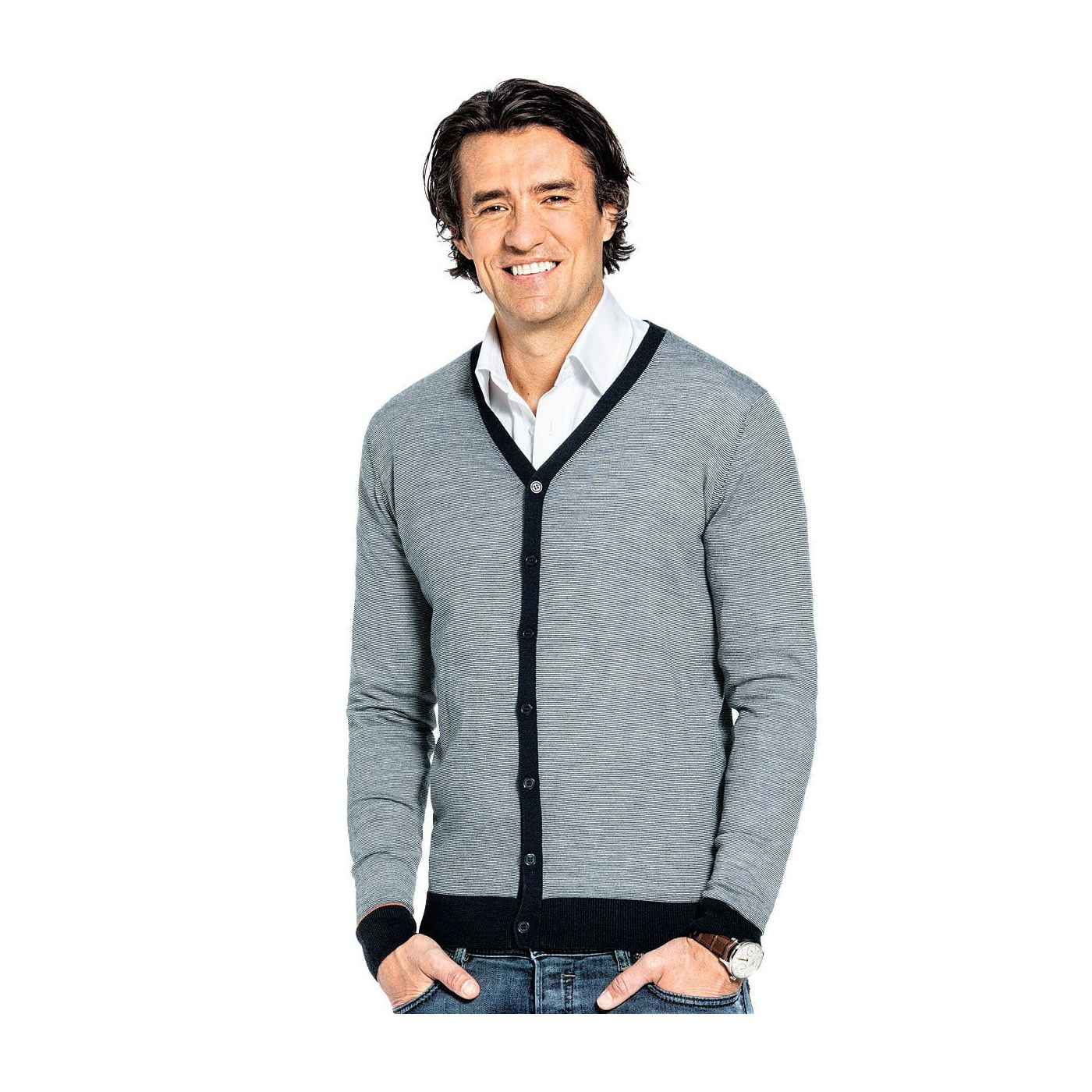 Vest voor mannen gemaakt van merinowol in het Donkerblauw
