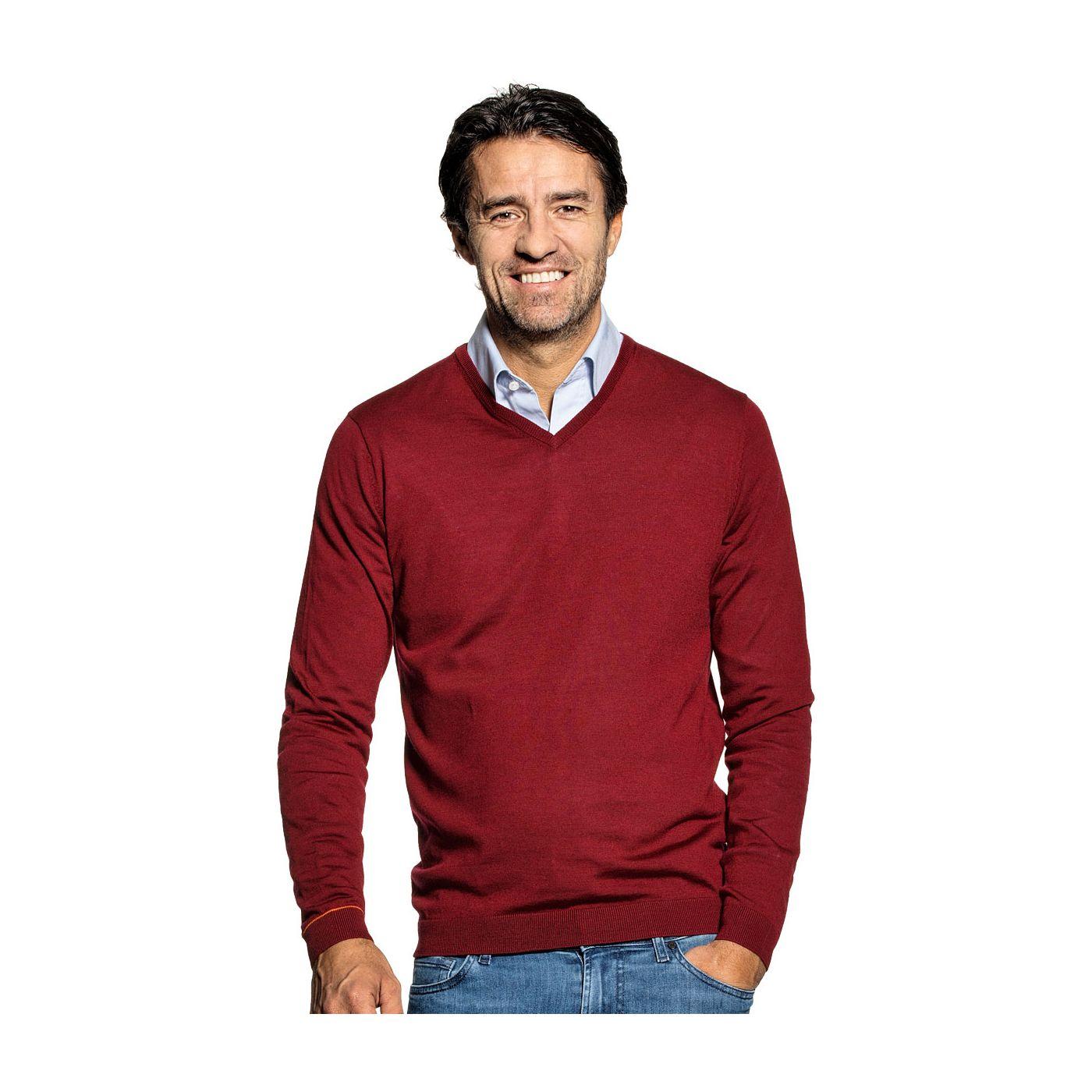 Pullover mit V-Ausschnitt für Herren aus Merinowolle in Rot