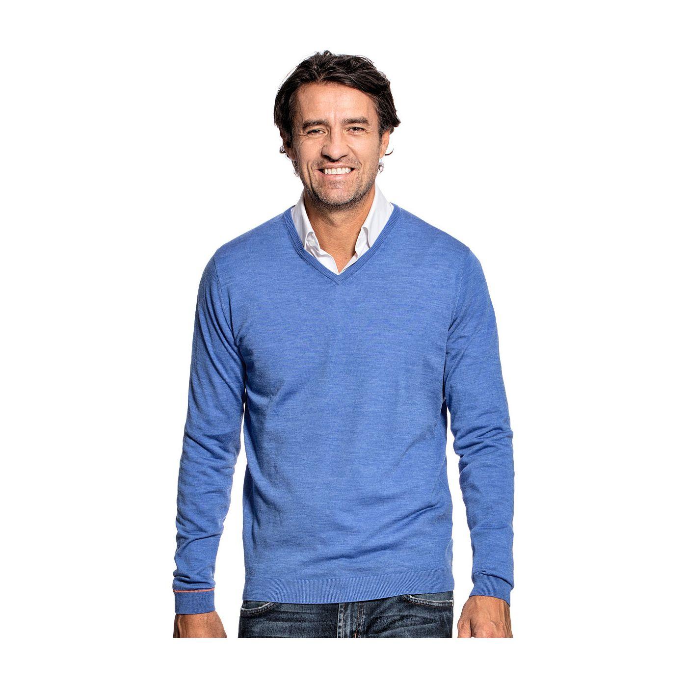 V-Neck voor mannen gemaakt van merinowol in het Helderblauw