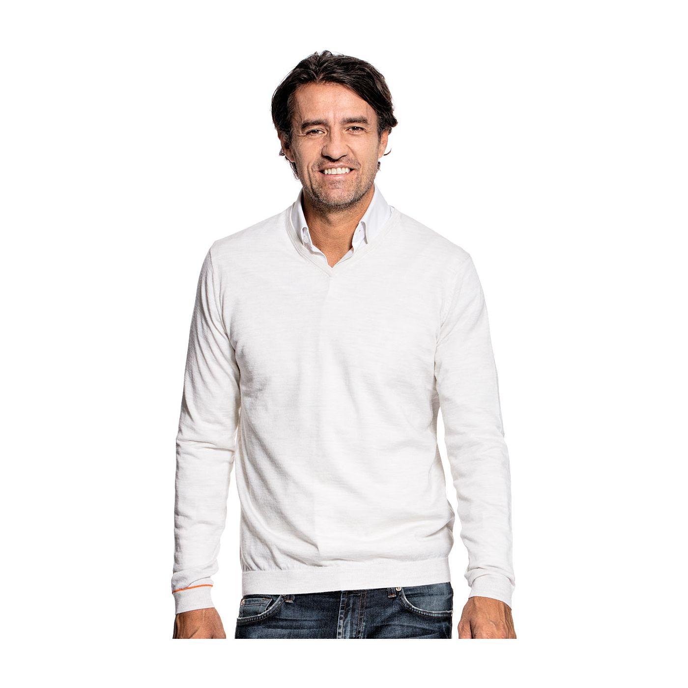 V-Neck sweater for men made of Merino wool in White
