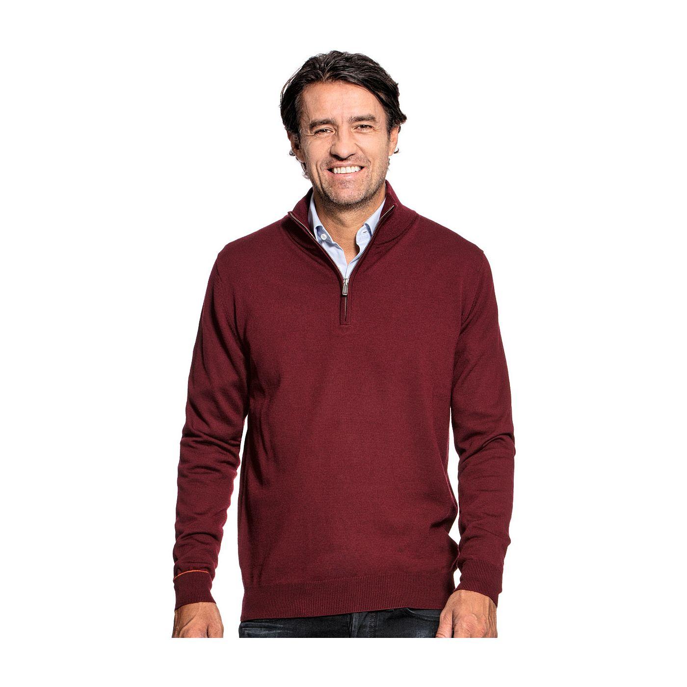 Zip voor mannen gemaakt van merinowol in het Rood