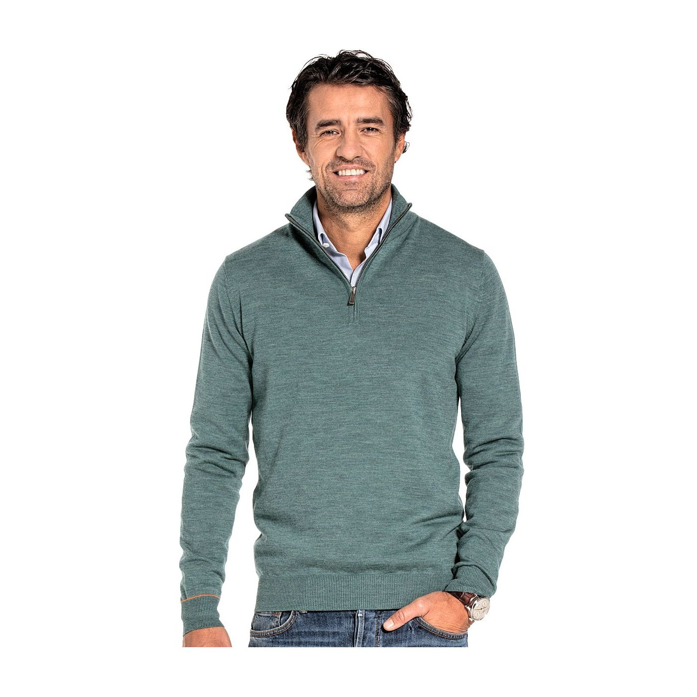 Half zip sweater for men made of Merino wool in Light green