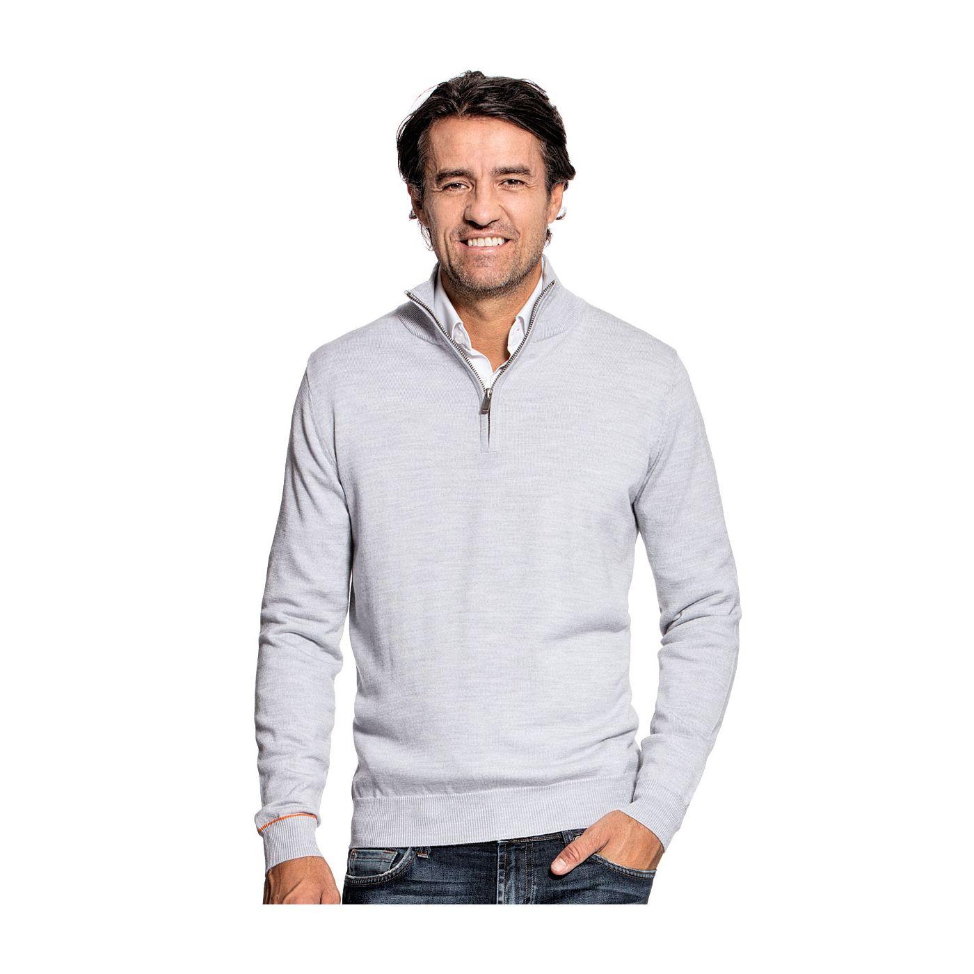 Half zip sweater for men made of Merino wool in Light grey