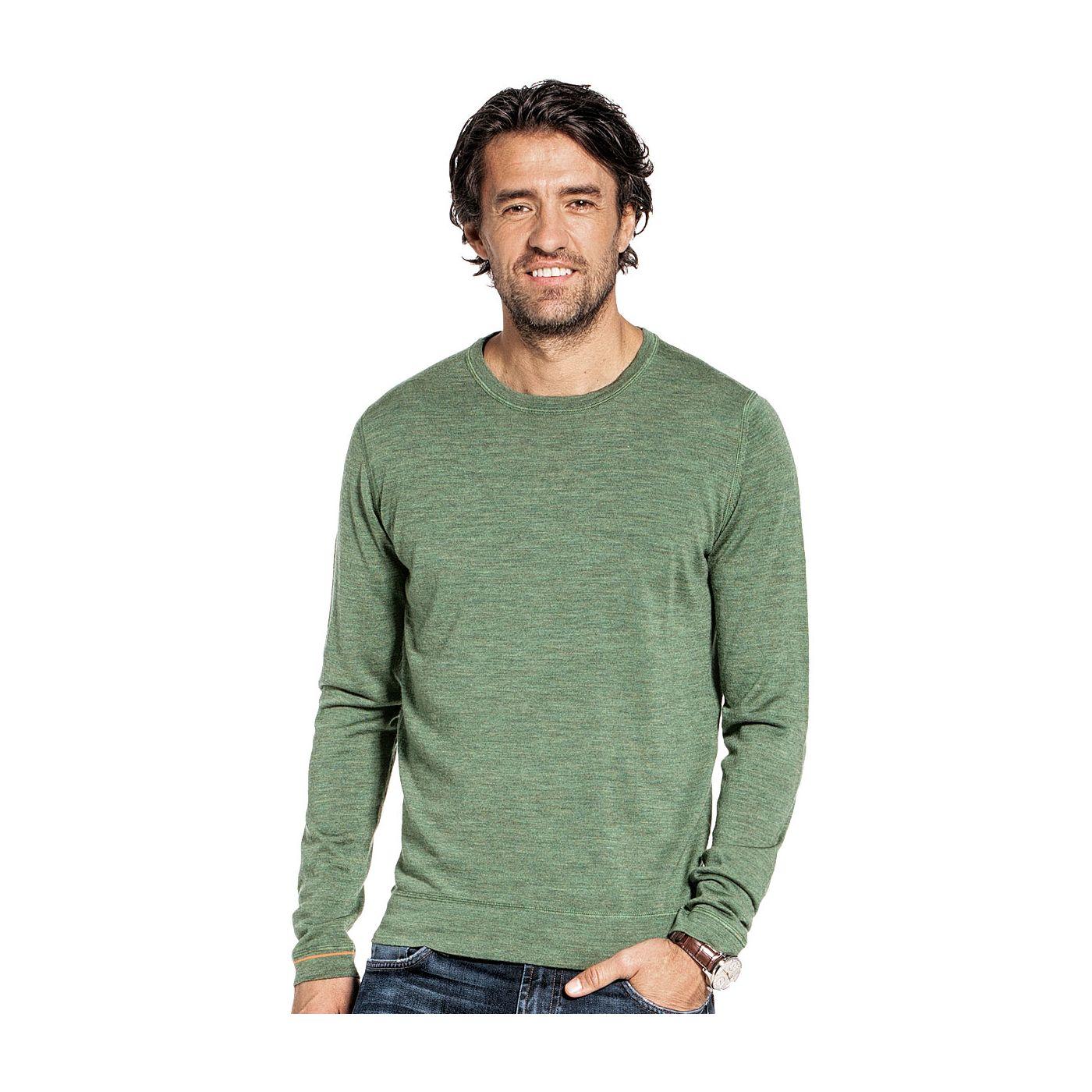 Ronde hals pullover voor mannen gemaakt van merinowol in het Groen