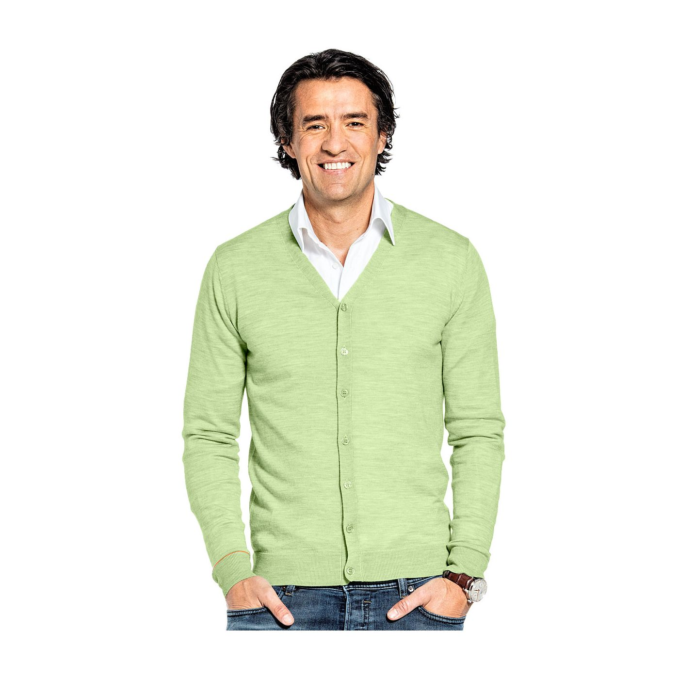 Vest met knopen voor mannen gemaakt van merinowol in het Lichtgroen