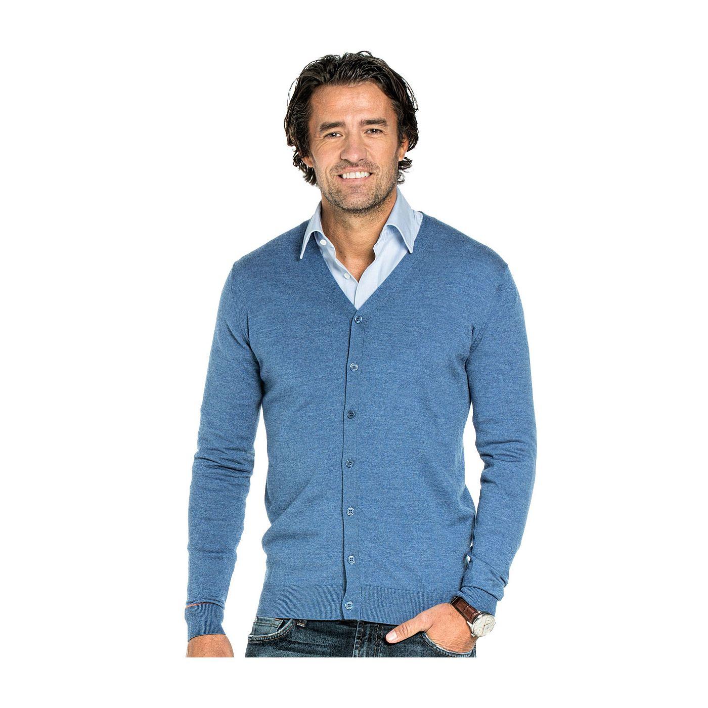 Vest met knopen voor mannen gemaakt van merinowol in het Helderblauw