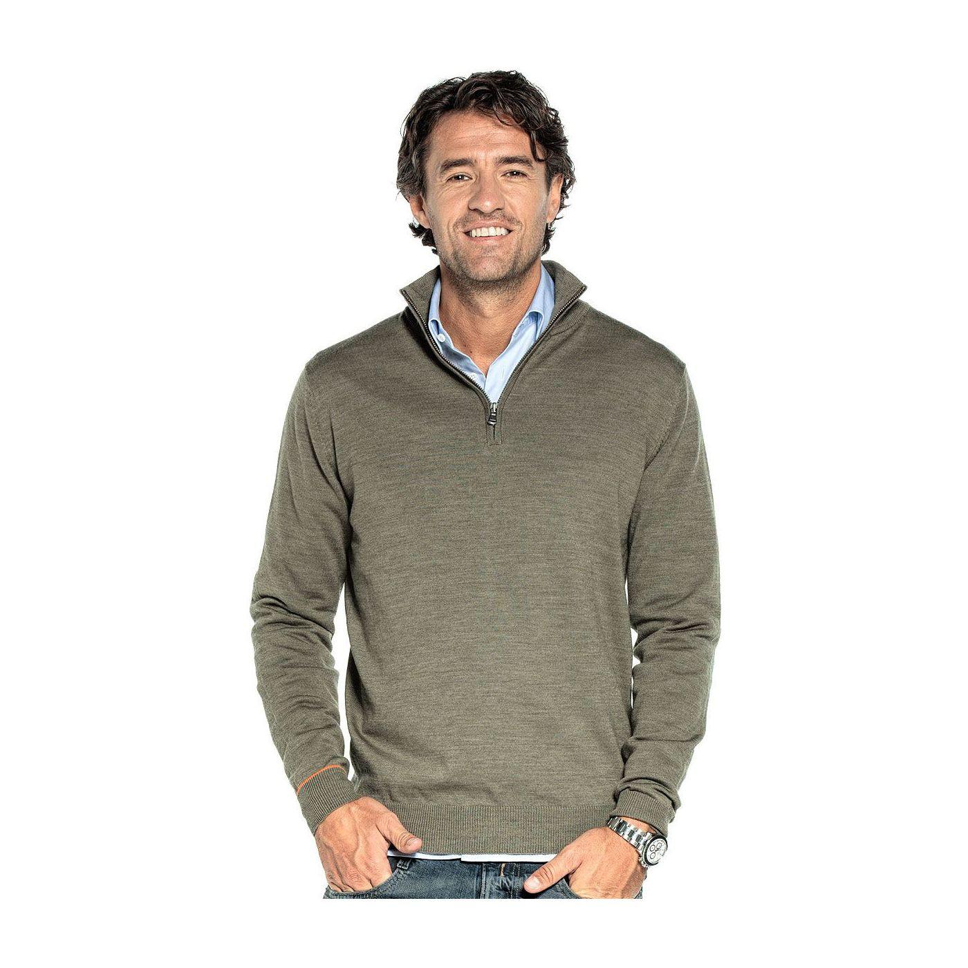 Zip voor mannen gemaakt van merinowol in het Groen