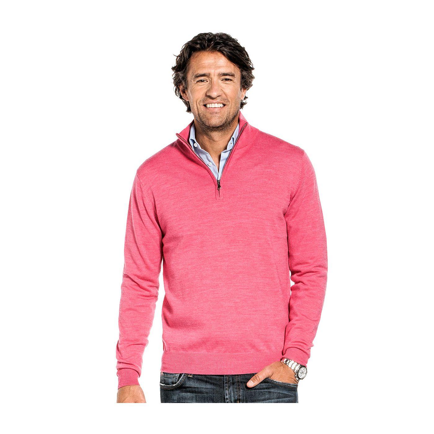 Zip voor mannen gemaakt van merinowol in het Roze