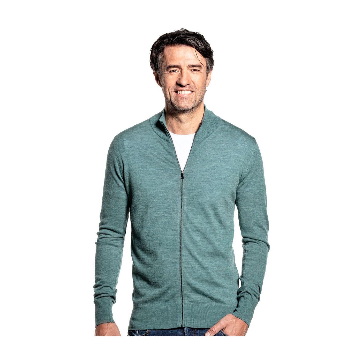 Dun vest voor mannen gemaakt van merinowol in het Lichtgroen