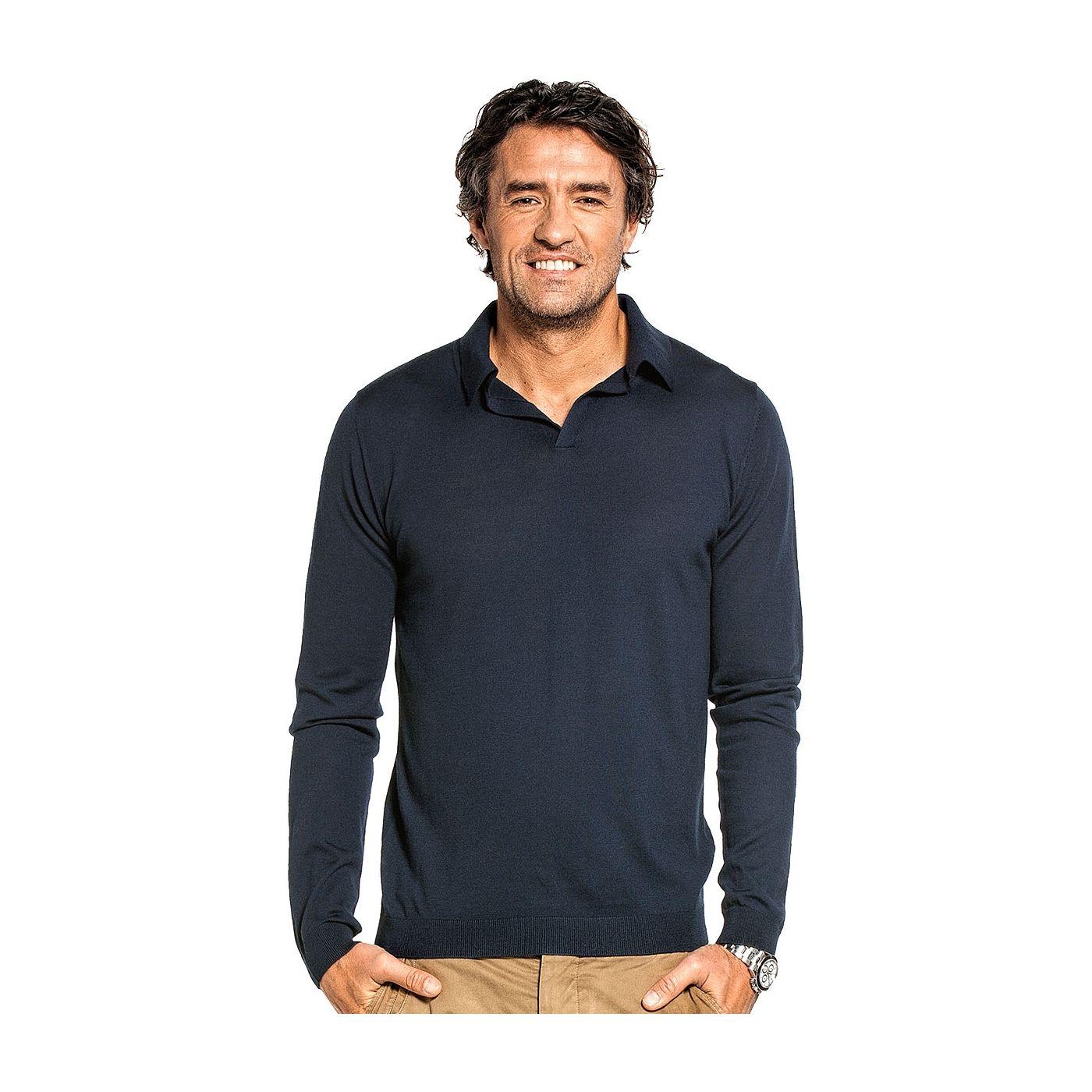 Riva Long Sleeve voor mannen gemaakt van merinowol in het Donkerblauw