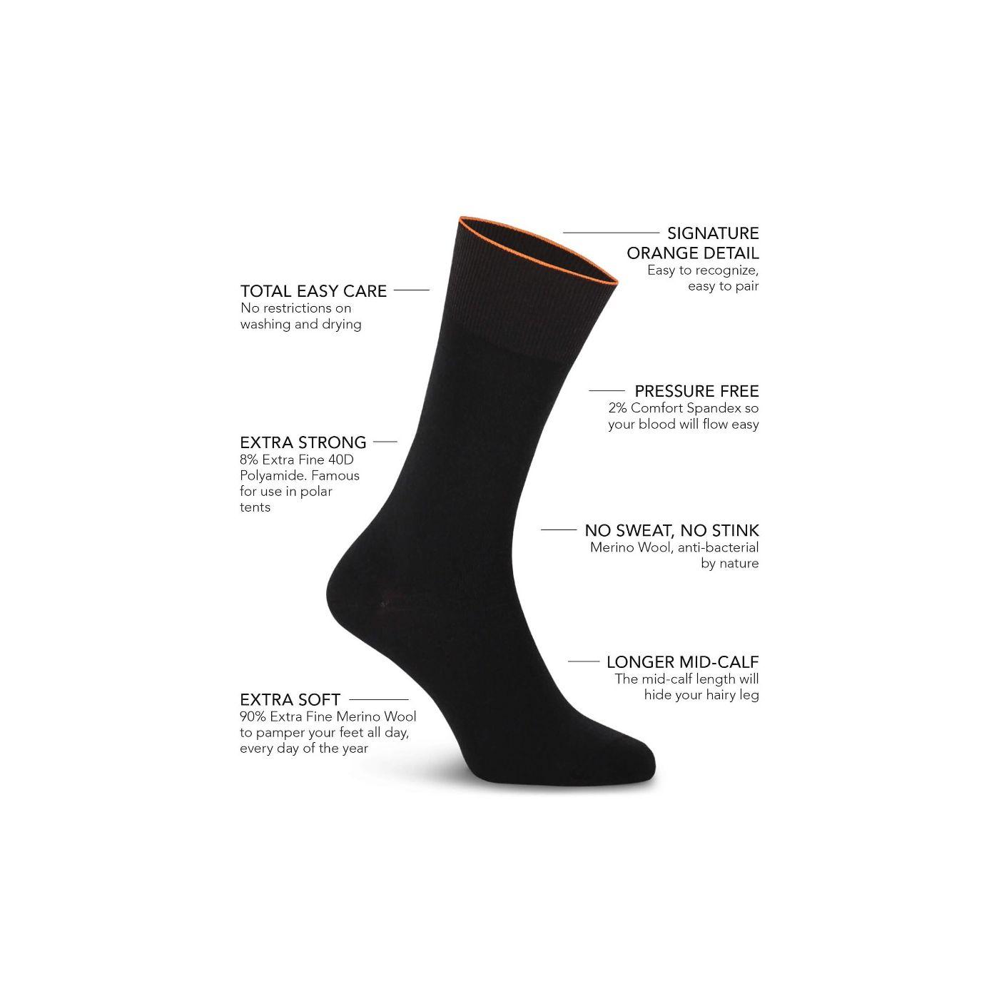 Joe Sock Fine Deep Black 3-Pack
