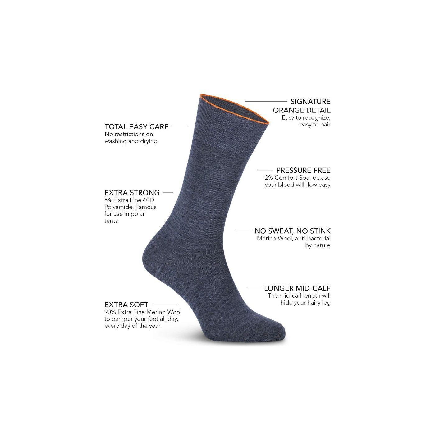 Joe Sock Fine Denim Blue 3-Pack