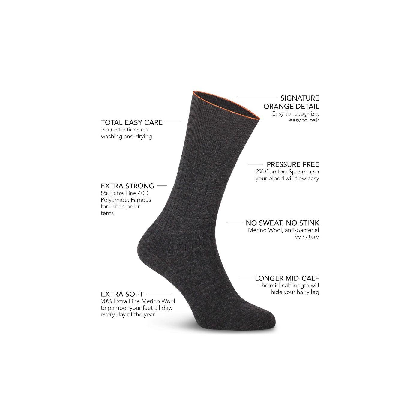 Joe Sock Rib Antra Grey 3-Pack