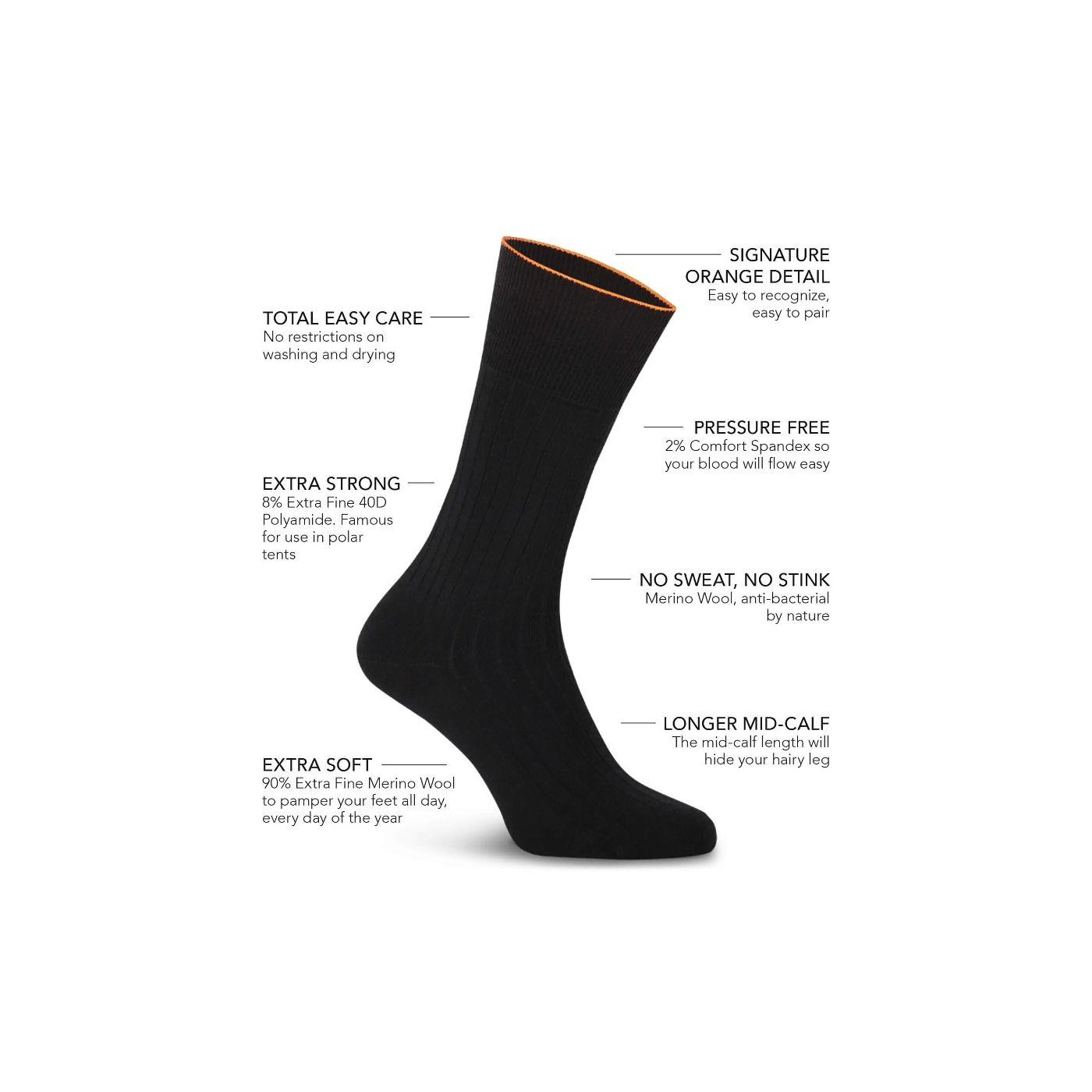 Joe Sock Rib Deep Black 3-Pack