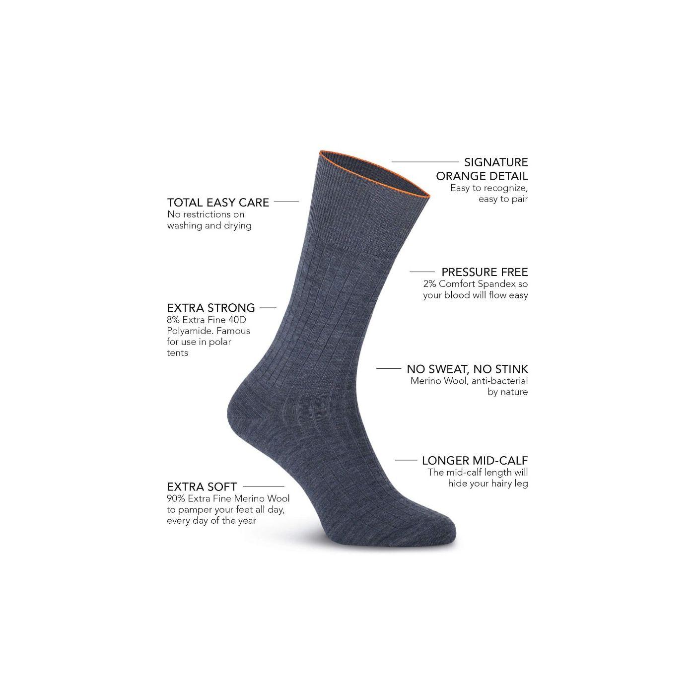 Joe Sock Rib Denim Blue 3-Pack