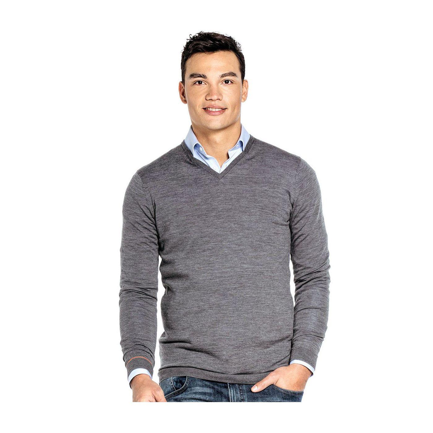 Extra lange V hals trui voor mannen gemaakt van merinowol in het Grijs