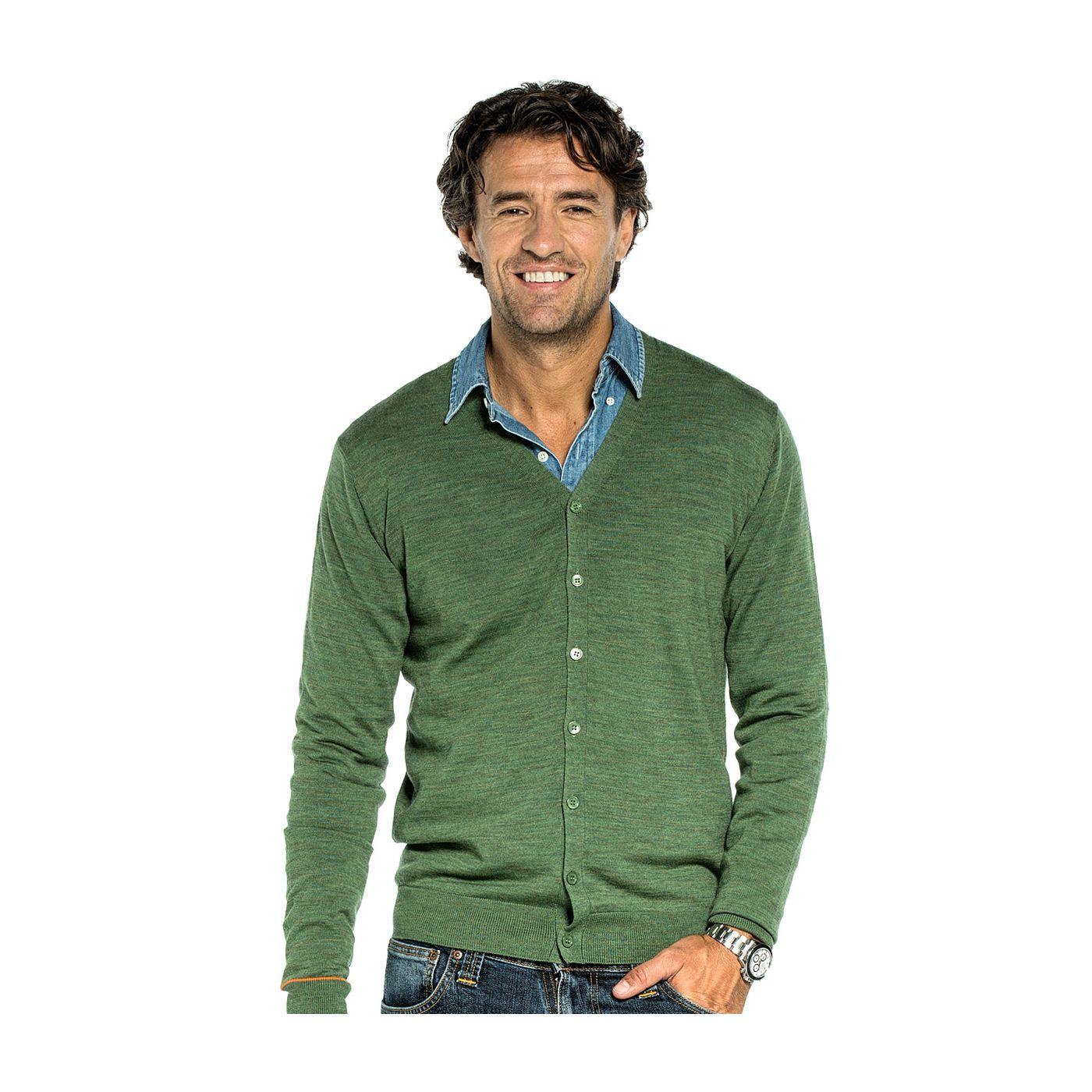 Vest met knopen voor mannen gemaakt van merinowol in het Groen