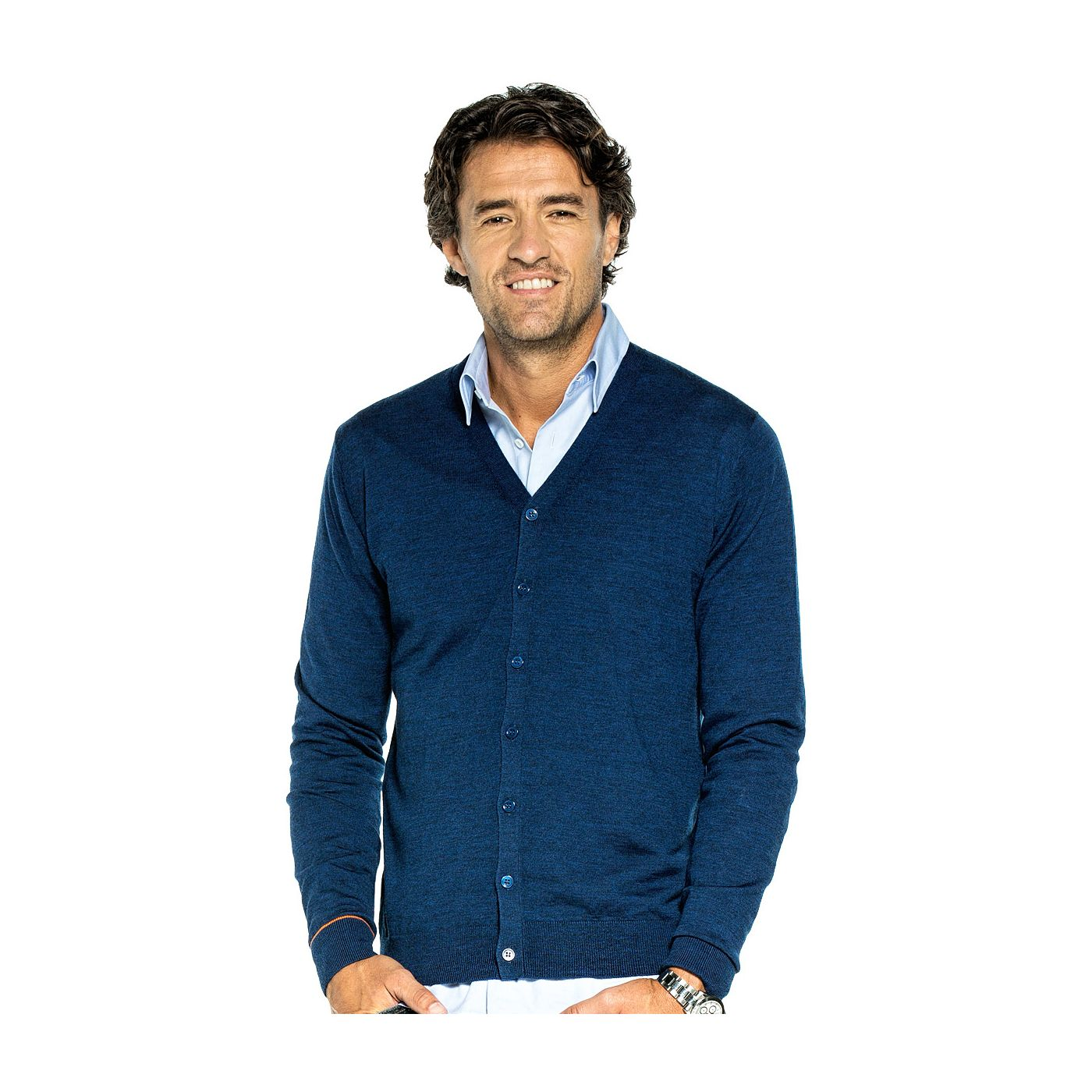 Cardigan for men made of Merino wool in Blue