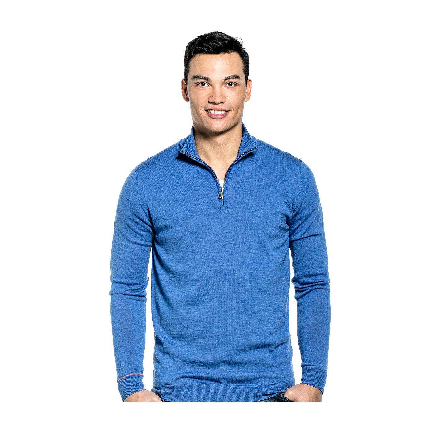Zip Extra long voor mannen gemaakt van merinowol in het Helderblauw